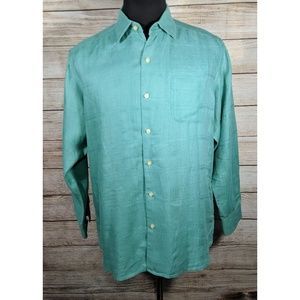 Tommy Bahama Green Teal Linen Button Camp Shirt M